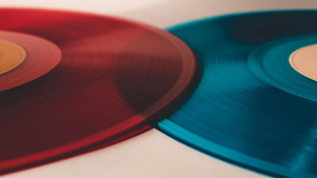 blue and red record vinyl