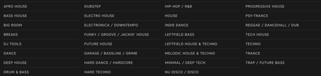 List of genres of music to DJ with
