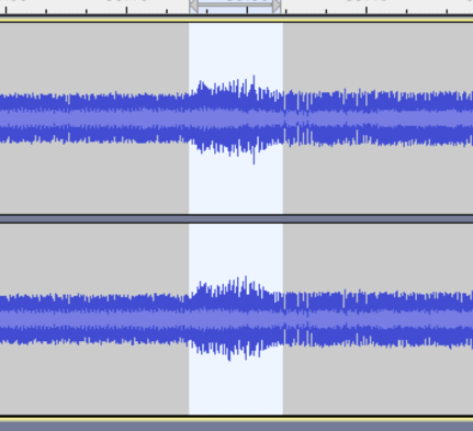 section of audio selected where a DJ could cut out a slice of audio to sound better in the overall DJ mix