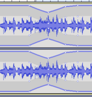 Example of using the Envelope tool to smooth out peaks of audio
